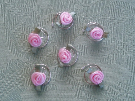 Light Pink Rose Hair Swirls-Hair Jewelry-Twists-Hair Spins-Hair Spirals-Wedding Accessories