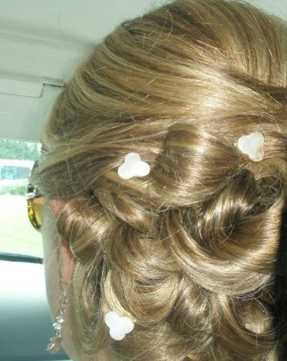 Mother of  Pearl MOUSE EARS Hair Swirls Disney Wedding-Mother of the Bride Hair-Illusion of the Mouse