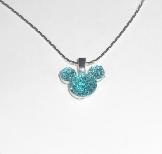 MOUSE EARS Necklace for Disney Wedding Party in Dazzling Aqua Acrylic