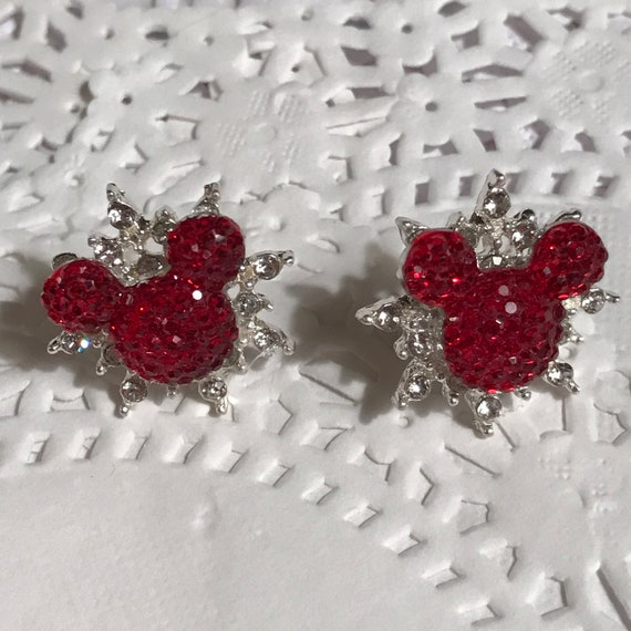 Disney Inspired Wedding-Celestial Star Mickey Pierced Earrings-Bridal Party-Star Snowflake-Classic Red