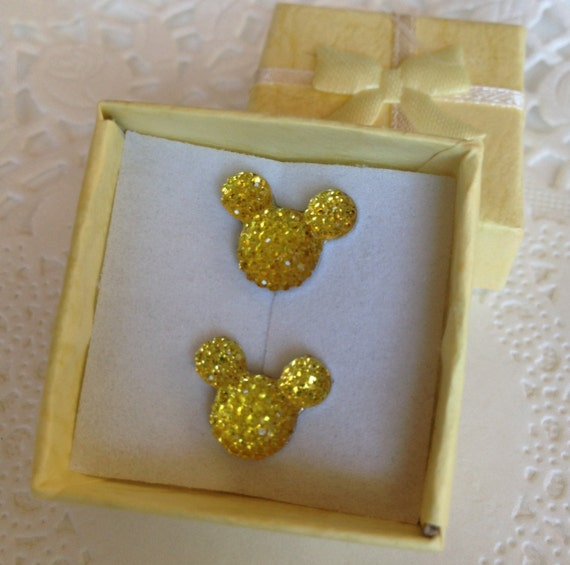 MOUSE EARS Cuff links for Wedding Party in Dazzling Yellow Acrylic Groomsmen Gift Themed Wedding Gift Box Included FREE