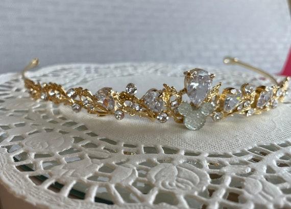 Golden Rhinestone Tiara-FairyTale Princess Hair Piece-Disney Inspired Wedding