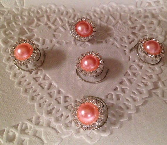 Hair Jewels Rhinestones and Peach Pearls Bridesmaids Hair Swirls Spins Spirals Prom Coils Wedding Hair