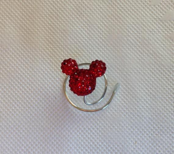 MOUSE EARS Hair Swirls-Disney Inspired Wedding-Red Acrylic Spins Spirals Coils Twists-Bridesmaids-Flower Girls
