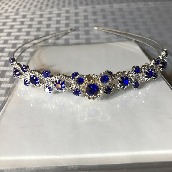 Disney Flower Girl Headband-Fairytale Wedding-Disney Fanatic-Royal Blue and Silver