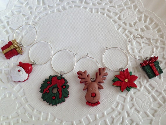 Christmas Wine Charms-Christmas Party Gift-Hostess Gift-Holiday Entertaining-Secret Santa
