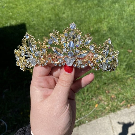 Disney Inspired Wedding-Crystal Clear and Clear AB Rhinestone Jeweled Tiara-Golden Setting-Hidden Mickey-Shower Gift