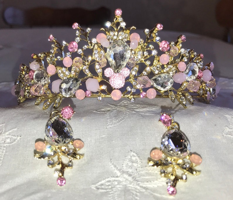 Disney Inspired Wedding-Crystal Clear and Pink Rhinestone Jeweled Tiara-Golden Setting-Hidden Mickey-Bride To Be Shower Gift