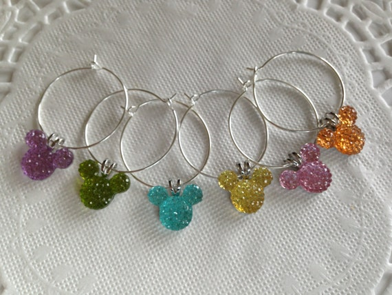 Hidden Mickey Wine Charms-Jewel or Pastel Colors-Mouse Ears Shower Gift-Birthday Present-Kitchen Supply