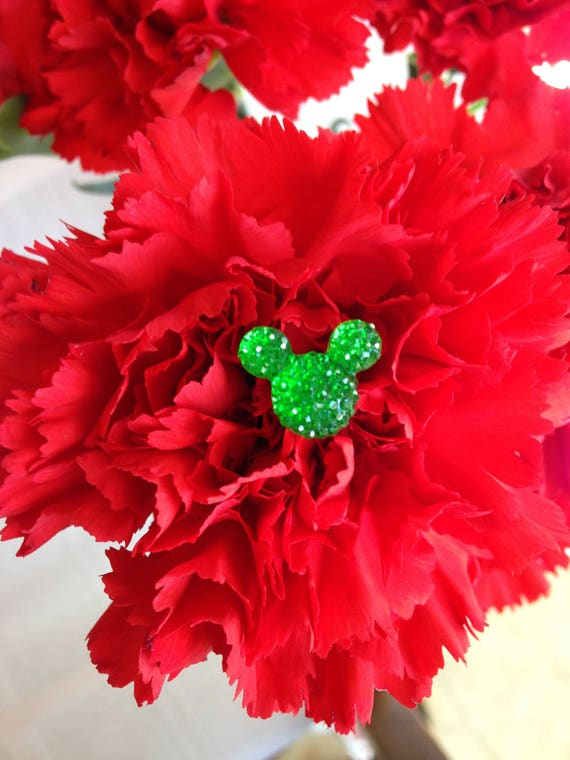 Disney Wedding Bouquets-FREE SHIP-6 Hidden Mickey Mouse Ears-Green Hidden Mickey Flower Picks Floral Pins Flower Posts