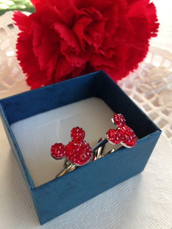 MOUSE EARS Cufflinks for Wedding Party in Dazzling Red Acrylic