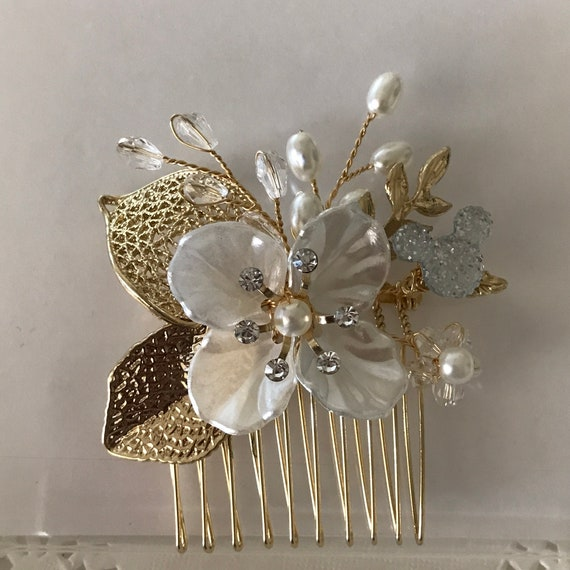 Wedding Flower Comb-Disney Inspired Clear Mouse-Hidden Mickey Comb-White and Golden