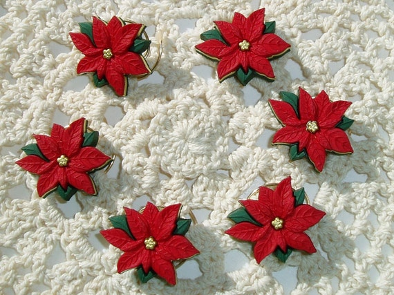 Poinsettia Hair Swirls in Red for Christmas Wedding Hair Spins Hair Spirals Hair Twists Christmas Office Party Ugly Sweater Party
