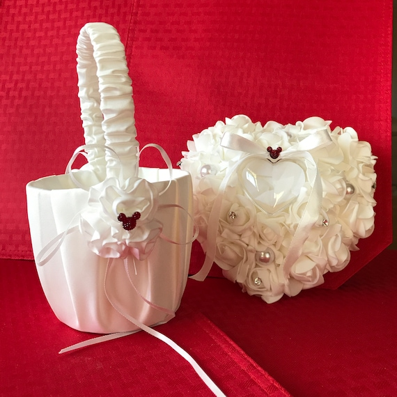 Disney Inspired Flower Girl -Ivory Basket-Ring Bearer Pillow-Classic Red Mickey