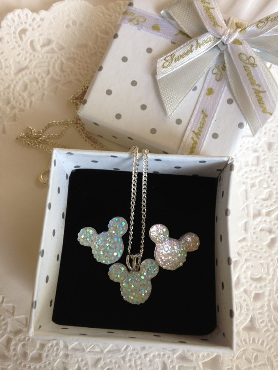 HIdden Mickey MOUSE EARS-Necklace and Earrings Set-Disiney Wedding Party-Clear AB Acrylic or Choose Colors