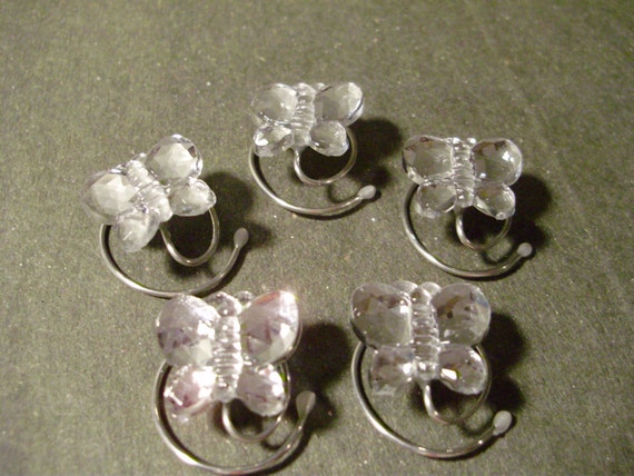 Butterfly Hair Swirls Spins Spirals Twisties Coils in Sparkling Clear Acrylic