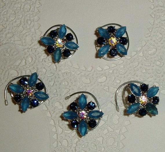 Cobalt Blue & Medium Blue Hair Swirls in Silver Tone Setting Hair Spins Spirals Hair Jewelry Hair Accessory