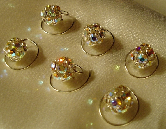 Swarovski Crystal Hair Swirls, Spins, Spirals, Twists, AB Disco Balls, Silver Tone Filigree
