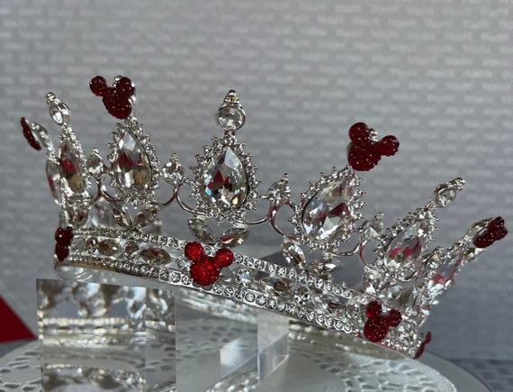 RESERVED for JENNIFER VALERIE-Disney Inspired Crown-Wedding Crown-Full Circle Crown-Disney Cruise-Bridal Shower Gift-Red on Silver