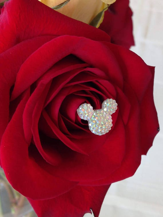 Disney Wedding-12 Hidden Mickey Mouse Ears Bouquet Corsage Flower Picks-Centerpiece Floral Pins-Flower Posts-Bridal Flowers-Clear-Clear AB