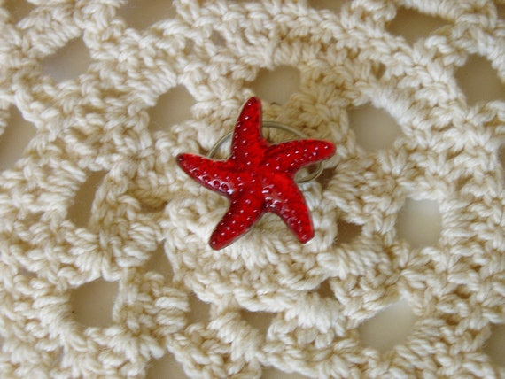 Starfish Hair Swirls-Twists-Hair Spins-Hair Spirals-Beach Wedding Party-Red Acrylic-Beach Party