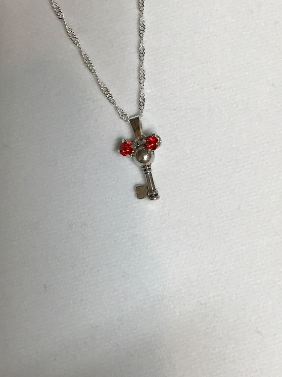 Red and Silver Tone Mickey Pendant-Hidden Mickey Necklace-Bridesmaids Gift-Flower Girl-Magic Kingdom Key