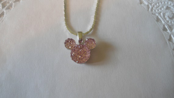 Disney Wedding Flower Girl-Minnie MOUSE EARS Necklace-Pale Baby Pink Acrylic