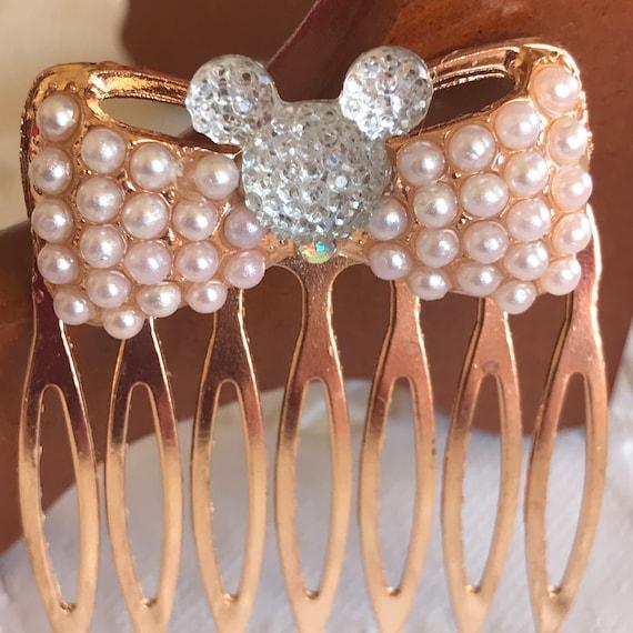 Hidden Mickey Golden Pearl Comb-Mouse Head Silhouette-Disney Wedding Bridesmaids-Flower Girl-Bride