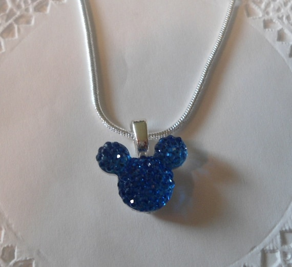 Tinker Bell Gift-MOUSE EARS Necklace-Disney Wedding Party-Royal Blue Acrylic-Original Maker 2012-Hidden Mickey