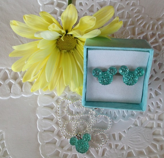 MOUSE EARS Necklace and Earrings for Themed Wedding Party-Light Aqua Acrylic-Disney Flower Girl