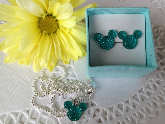 MOUSE EARS Necklace and Earrings Set-Disney Inspired Wedding Party-Bright Aqua Acrylic