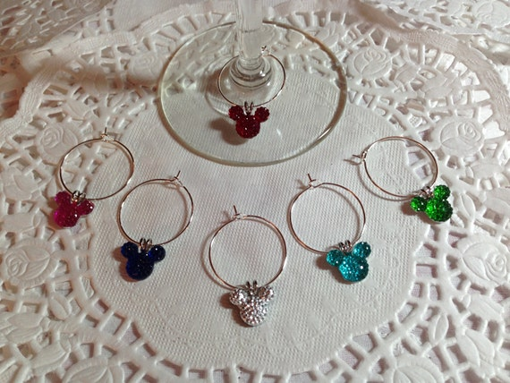 Mouse Ears Wine Charms-Disney Themed Shower Party-Wedding Gift-Box Included FREE