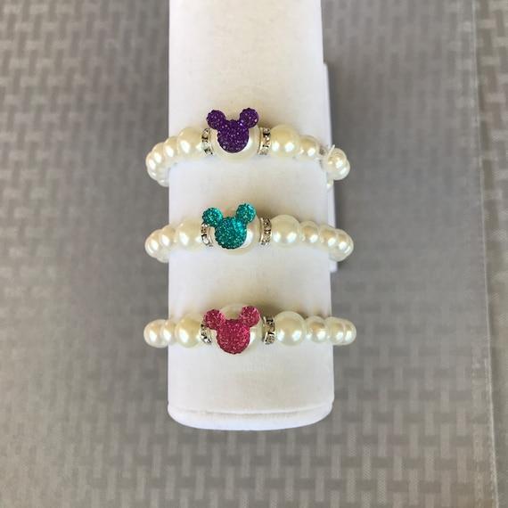 Flower Girl Bracelet-Mickey Minnie Mouse Bracelets Toddler Bracelets Cinderella Gift-Disney Trip