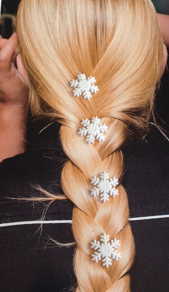 Frozen Snowflake Hair Swirls in White Glitter