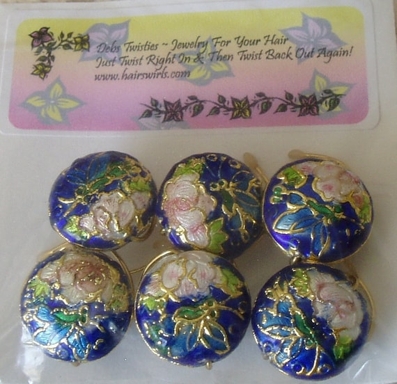 Royal Blue Cloisonne With Pink Butterfly Hair Swirls Spins Spirals Coils