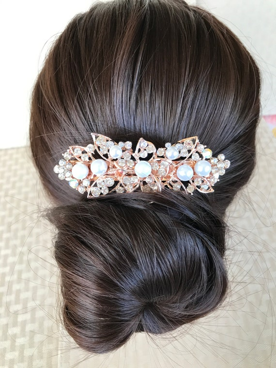 Disney Inspired Bachelorette Party Barrette-Dapper Days-Prom Rhinestone Pearl Hair Accessory-Bridal Shower Gift-Engagement Party