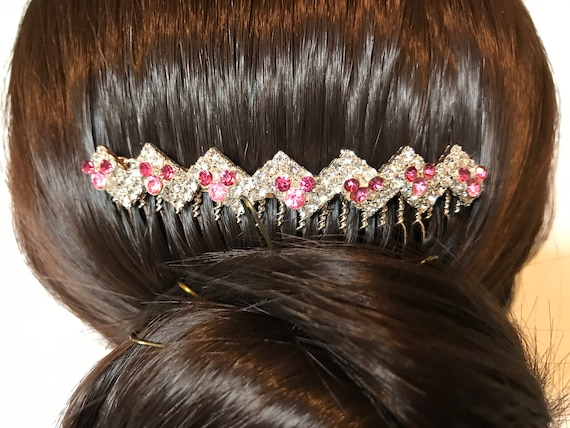 Hidden Mickey Wedding Comb-Crystal Rhinestones-Gold Tone Setting-Disney Inspired Accessory-Pink Mickey Silhouettes