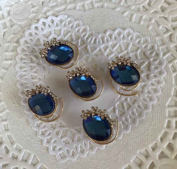Wedding Hair Swirls Ballroom Dancing-Royal Blue-Ovals and Flowers Hair Coils-Bridesmaids Spins- Spirals