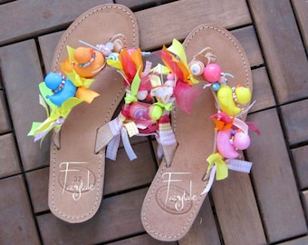 d6ff3fee998a Natural Color Greek Leather sandals with ducks - Flip flops -