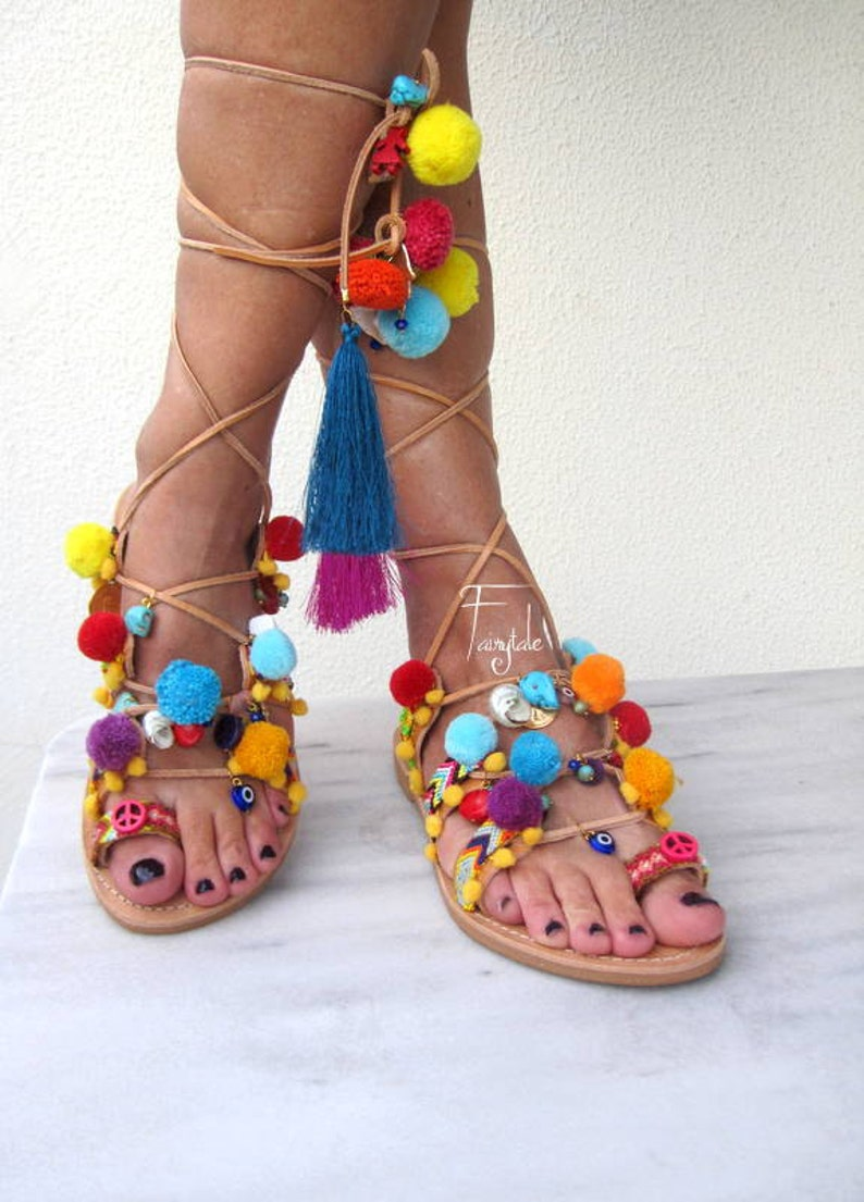 9ec1f87676b6 Pom pom sandals Tie Up Gladiator Sandals-FREE SHIPPING ethnic