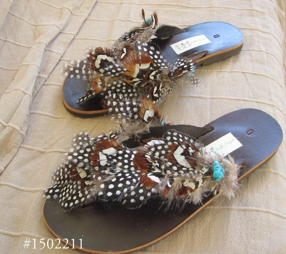 6a4e4c9e5511 Greek leather sandals with real feathers - boho -flip flops - Hippie