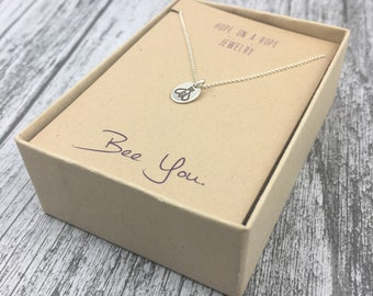Silver Bee Necklace - Tiny Sterling Silver Bee Necklace - Bumble Bee Necklace - Simple Necklace - Be Yourself - Sterling Silver Bee Charm