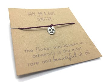 Lotus Bracelet - Sterling Silver Lotus Bracelet - Cord Bracelet - Lotus Charm- Yoga Bracelet - Simple Bracelet - Meaningful Bracelet - Rise