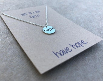 Sterling Silver Hope Necklace - Hope Necklace - Hand Stamped Hope Necklace - Breast Cancer Necklace - Awareness Necklace - Simple Necklace