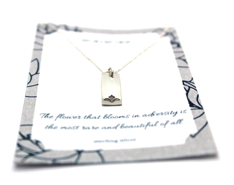 Simple Yoga Jewelry Dainty Necklace for Her Sterling Silver Lotus Bar Necklace