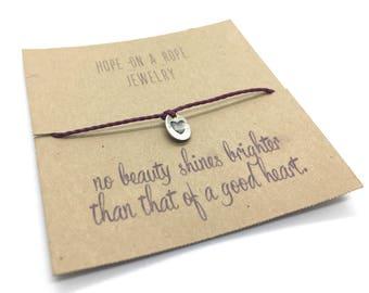 Heart Bracelet - Sterling Silver Heart Bracelet - Cord Bracelet - Love Bracelet - Teacher Gift - Gift for Her - Mother's Day Gift