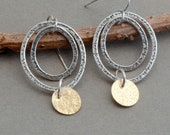 Mixed metal hoop earrings gold disk earrings oxidized sterling silver multiple dangle hoop two tone earring for women artisan rustic earring