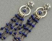 Sterling silver lapis lazuli stud ear jackets dangle earrings dark blue earrings double two sided front back earrings tribal boho jewelry