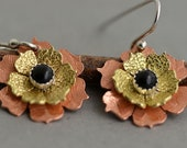 Mixed metal earrings small flower earrings gold brass copper dangle earring handmade black onyx earrings contemporary jewelry gift for women
