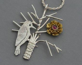 Woodpecker bird necklace bird pendant sterling silver tree necklace mixed metal nature jewelry bird on branch unusual artisan jewelry